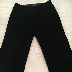 Black velvet wide leg pants